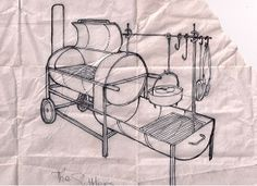 1. The original sketch as shown to Scout's and Dads on a campout in 2008. Actually, the name 'Settler's Kitchen' as it relates to this 'new' type of machine, was born that night.