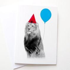 Party Animal Lion Greetings Card by hello DODO - Birthday. £2.50, via Etsy.
