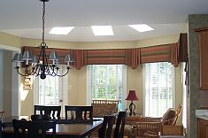 Curtains, window coverings, window dressings, sheers, panels, cornices/Affordable Custom Designs