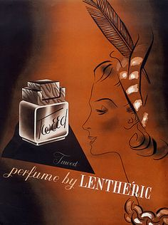 "Illustration by MAC, 1941, ""Tweed"" parfume by Lenthéric."