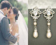 Bridal Earrings, Wedding Earrings, Swarovski Pearl and Crystal Rhinestone Stud Earrings, Teardrop Dangle Earrings, Bridal Jewelry, JOLENE