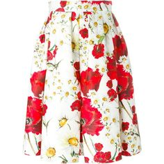 Dolce & Gabbana Daisy and Poppy Print Skirt ($987) ❤ liked on Polyvore featuring skirts, white, white a line skirt, high-waist skirt, daisy skirt, box pleat skirt and mid length a line skirt