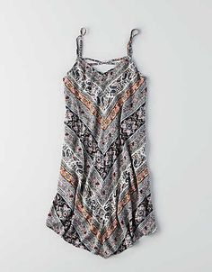 AEO Printed Shift Dress, Grey | American Eagle Outfitters