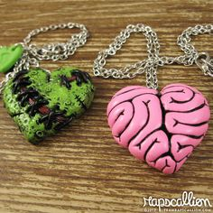 @Tiffany Miller, this is for you! Zombie and Brain Heart Best Friends Necklace by rapscalliondesign, $38.00