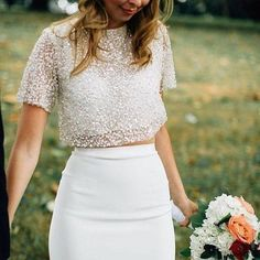 Iridescent Pastels Make This Whimsical Wedding Inspiration Pop! Cropped Tops, Denim Crop Top, Crop Top Hoodie, Two Piece Wedding Dress, Perfect Wedding Dress, Wedding Crop Top, Top Boho, Crop Top Styles, Bridal Tops