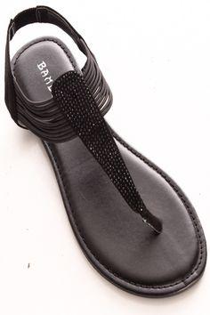 6431f02b5798f2 BLACK RHINESTONE DESIGN SLIP ON CASUAL SANDAL