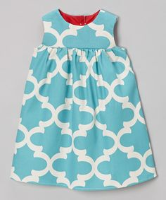 Loving this Turquoise Quatrefoil Josie Dress - Toddler & Girls on #zulily! #zulilyfinds