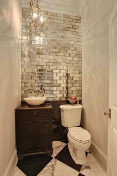 bathroom ideas Gilded tile for glamour. checkered floor.