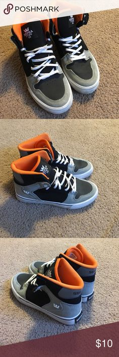 Supra high tops Black/grey/orange Supra hightops. Only worn a handful of times. Supra Shoes Sneakers