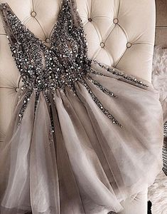 Gray V-Neck Beaded Tulle Homecoming Dress,Short A-Line Prom