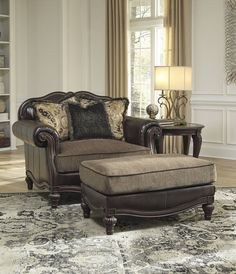 Winnsboro DuraBlend Vintage Wood Fabric Chair