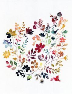 wild garden print: aline yamada, giclee print of original illustration
