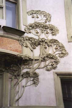 what if we did this on the exterior a little bit at a time, like once a month in the middle of the night we add a little bit, to look as if it was growing organically.seems like quite an interesting idea Architecture Art Nouveau, Art Nouveau Interior, Design Art Nouveau, Beautiful Architecture, Art And Architecture, Architecture Details, Architecture Student, Belle Epoque, Jugendstil Design