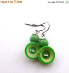 Spring Sale Bright Green and White Earrings made with Buttons by buttonsoupjewelry on Etsy