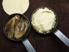 Blanquette de veau, tatin of witlof (Belgian endives), potato stuffed with porcini