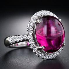 estate tourmaline , diamond ring, raspberry red cabochon center stone...