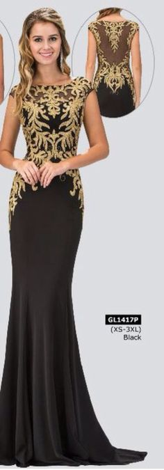 Black and gold elegance in modest prom dress with cap sleeves. Www.aformalchoice.com
