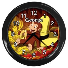 Curious George Monkey Kid's Bed Play Room Wall Clock by KusCase Curious George Bedroom, Curious George Birthday, Bedroom Themes, Kids Bedroom, Bedroom Ideas, Lightening Mcqueen, Just Kidding, Baby Boy Nurseries, Kid Beds