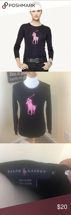 Black Ralph Lauren Pink Pony Long Sleeve Tee Ralph Lauren Shirt Ralph Lauren Tops