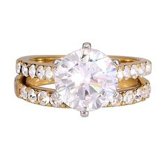 Corinna in Gold: 4.72ct Diamond Ice CZ 2 pc 316 Steel Wedding Ring Set