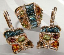 Bellarri 18K Rose Gold Diamond Blue Topaz & Multi Gemstone Rhythm & Blues Set - Only 1 set made, one of a kind!