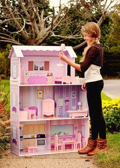 wood fancy mansion dollhouse w/ furniture 68% off