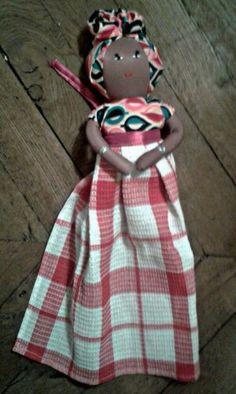 Essuie Mains à suspendre poupée Africaine 15 euros