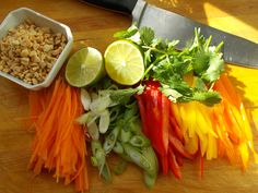 Freshly cut vegetables for the toppings on a Pad Thai Burger #healthy #hamburger #asian #veggies