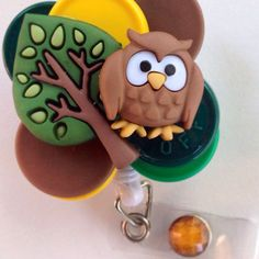 Owl Button Retractable ID Badge Reel on Etsy, $16.50