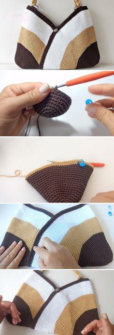 Crochet Bag – Easy - Crochet and Knitting Patterns Bag Crochet, Crochet Shell Stitch, Crochet Amigurumi, Crochet Handbags, Crochet Purses, Crochet Stitches, Free Crochet, Crochet Summer, Crochet Gifts