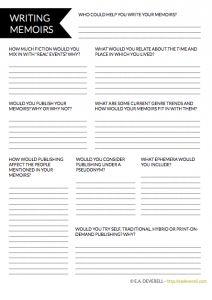 Writing Memoirs (Writer Worksheet Wednesday)                                                                                                                                                     More