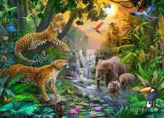Elephant Poster featuring the digital art Elephant Falls by Jan Patrik Krasny