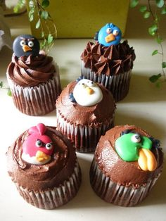 Top 5 Angry Birds Cup Cakes Angry Birds Cupcakes, Beautiful Cupcakes, Party Cakes, Mini Cupcakes, 4th Birthday, Nom Nom, Goodies, Cup Cakes, Desserts