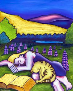 Lupine Slumber. Oil figure and landscape painting by Alaskan artist Elise Tomlinson.  The woman has blonde or yellow hair and a purple dress.  She is asleep, napping after reading a book with her yellow stripped cat. She is sleeping in a field of purple lupine with Alaskan mountains in the background.