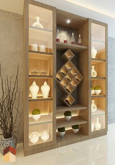 Crockery unit with wine rack in center