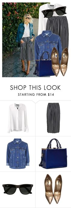 """How to: Wear striped culottes"" by vallle ❤ liked on Polyvore featuring Zizzi, Topshop, Dasein, Ray-Ban and Yves Saint Laurent"