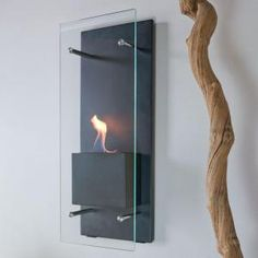 Nu-Flame Cannello in. Wall-Mount Decorative Bio-Ethanol Fireplace in Matte Black at The Home Depot - Mobile Foyer Mural, Wall Mounted Fireplace, Decorative Fireplace, Candle Fireplace, Fireplace Modern, Bioethanol Fireplace, Indoor Fireplaces, Interior And Exterior, Interior Design
