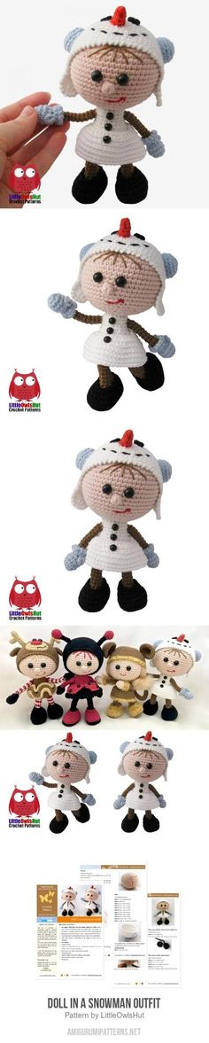 Doll in a Snowman outfit amigurumi pattern