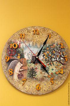 """Купить Часы """"Ёжиковое счастье"""" - часы, Декупаж, часы настенные, часы декупаж, интерьер"""