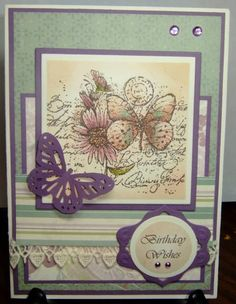 Garden Collage Sketch Challenge Card.  Stamps: SU Garden Collage  Paper: SU dp, Vanilla, Perfect Plum  Ink: Perfect Plum, Pale Plum, Sage Shadow, Creamy Caramal, Close to Cocoa, Old Olive, Brown Stazon  Accessories: Vivaldi Computer font, lace, Nesties Lattice, Squares, Circles, MS Punch, Kaiser rhinestones, dimensionals  Techniques: Sponging, Watercolor with ink