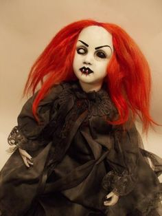 Creepy Sitting Large Red Head Mourning Vampire doll with Fangs OOAK Reborn vamp