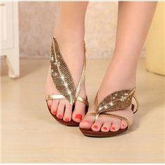 Chic Rhinestone Genuine Leather Flat Sandals