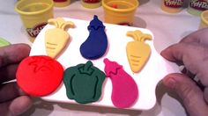 Learn Colors with a Play Doh - Vegetable Molds