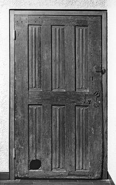 Medieval door with cat hole, as described in Chaucer's Miller's Tale. Walter's Art Museum, item 64.164