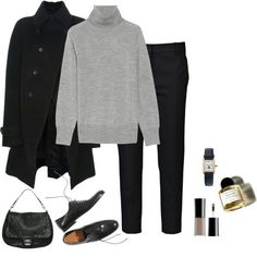 Minimal chic 788833690959635945 - Tendance Chaussures 2018 : Tendance Chaussures 2018 : Black coat grey sweater slim pants oxfords/loaf Source by nicolletaudrey Mode Outfits, Casual Outfits, Fashion Outfits, Womens Fashion, Fashion Styles, Work Casual, Casual Chic, Mode Style, Style Me
