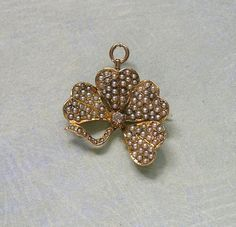 Antique Edwardian 10K Gold And Seed Pearl Four Leaf Clover Brooch Pin, Old Seed Pearl Shamrock Pin Brooch, Wedding Jewelry (#3035)..