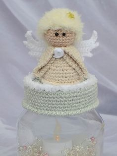 Crochet Jar Covers, Crochet Angels, Bottle Cap Art, Christmas Crochet Patterns, Jar Crafts, Knit Crochet, Christmas Decorations, Teddy Bear, Knitting