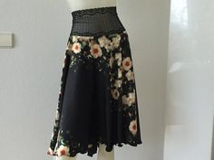COCO'S DANCEWEAR satin circle skirt in black floral with wide lace waistband. Pinned by Amy of www.amysshop.co.uk on Gifts for Tango dancers. Tango Dancers, Satin Skirt, Dance Wear, Fabric Design, Amy, High Waisted Skirt, The Incredibles, Silk, Floral