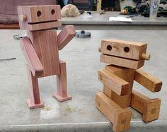 Robot in legno giocattolo giocattolo di legno di VeganVanJava