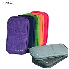 6 colours fashion Travel set nylon man brand ID passport holder credit card organizer bag women long travel wallet